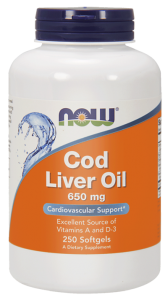 NOW Foods Cod Liver Oil – Tran 650 mg (250 kap)