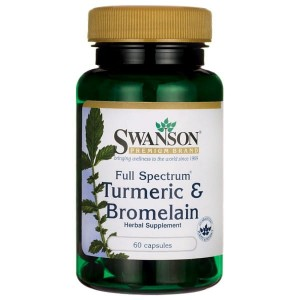 Swanson Turmeric & Bromelain - (60 kap)(data do konca 02,2020 r)
