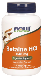 Now Foods Betaine HCl 648 mg + pepsyna (120 kap)